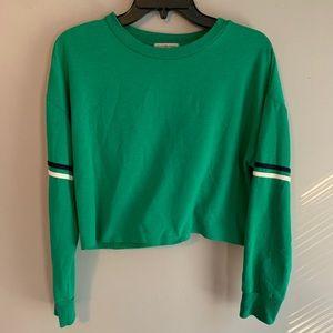 Green Long Sleeve Crop Top